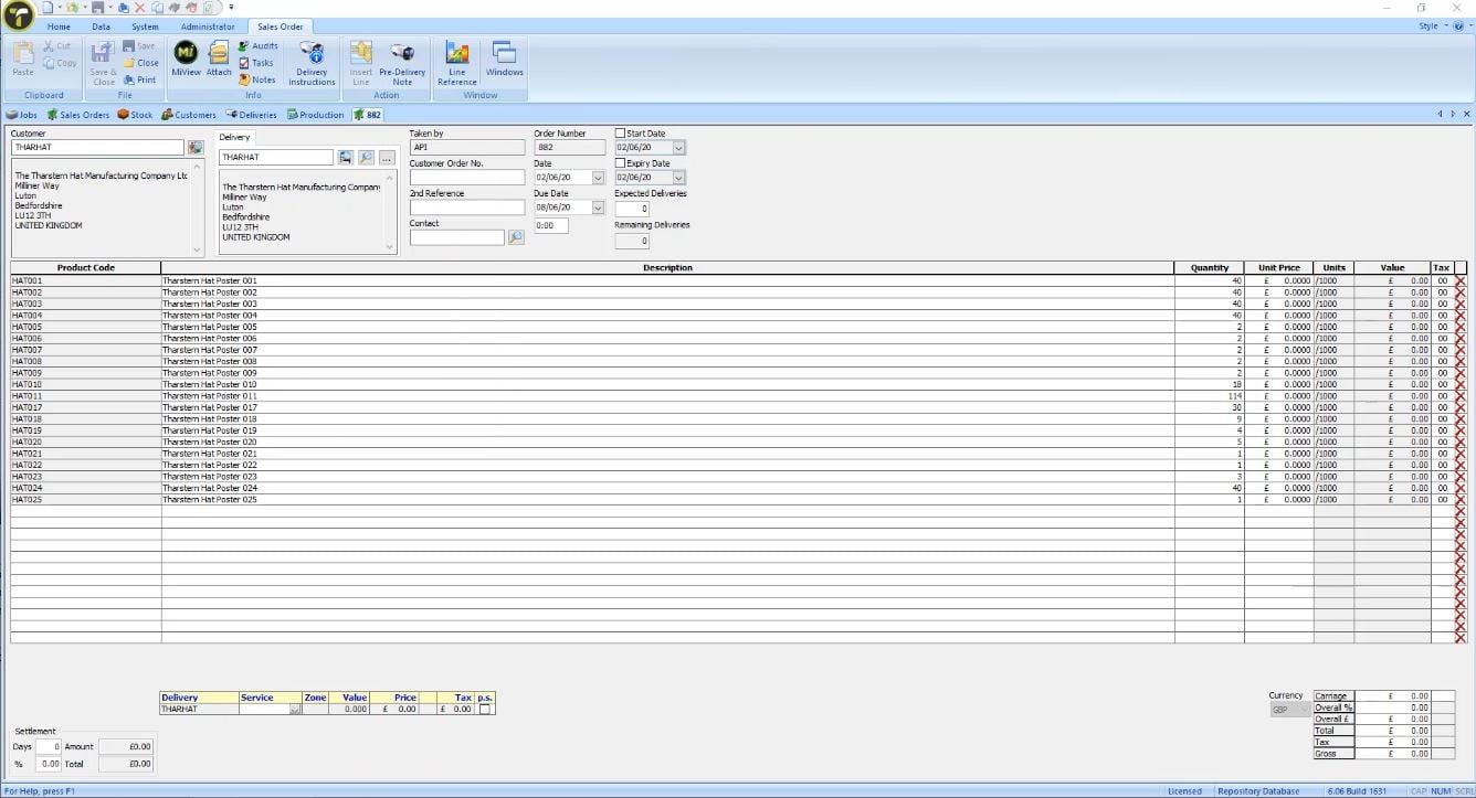 Screenshot 2 - Sales Order