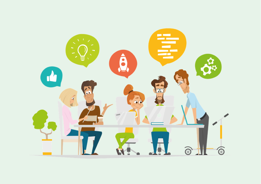 Vector-people-around-table-surrounded-by-thought-bubbles-with-icons
