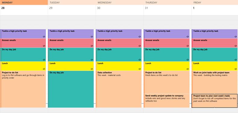 Timeblocking calendar
