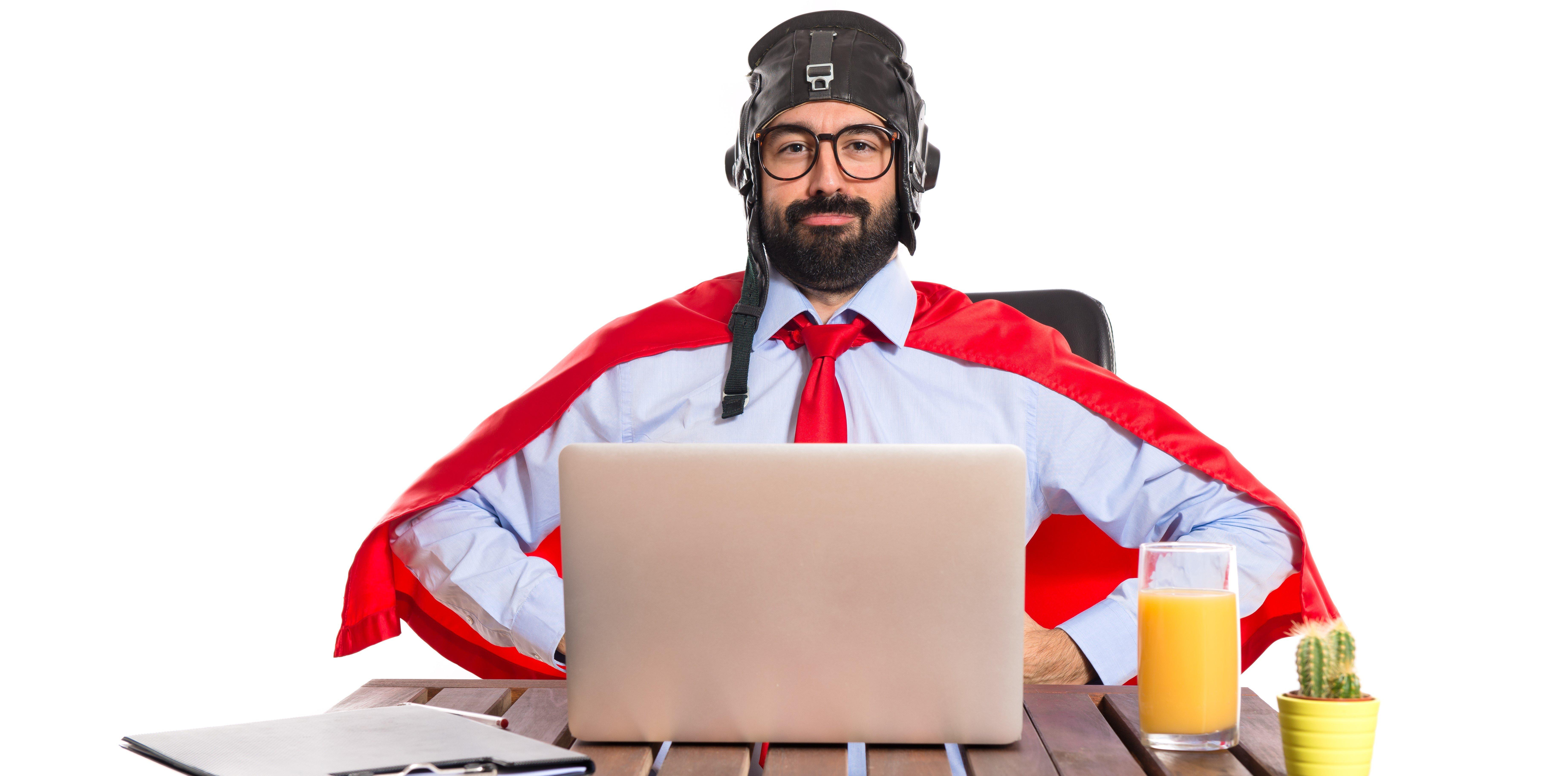 man with cape like superhero laptop wide