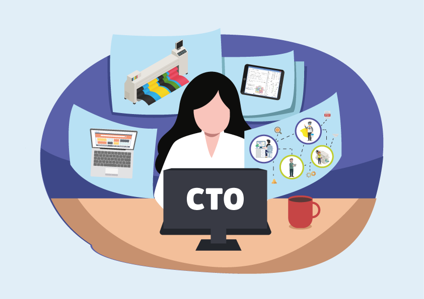 Vector-woman-on-laptop-CTO-surrounded-by-technology