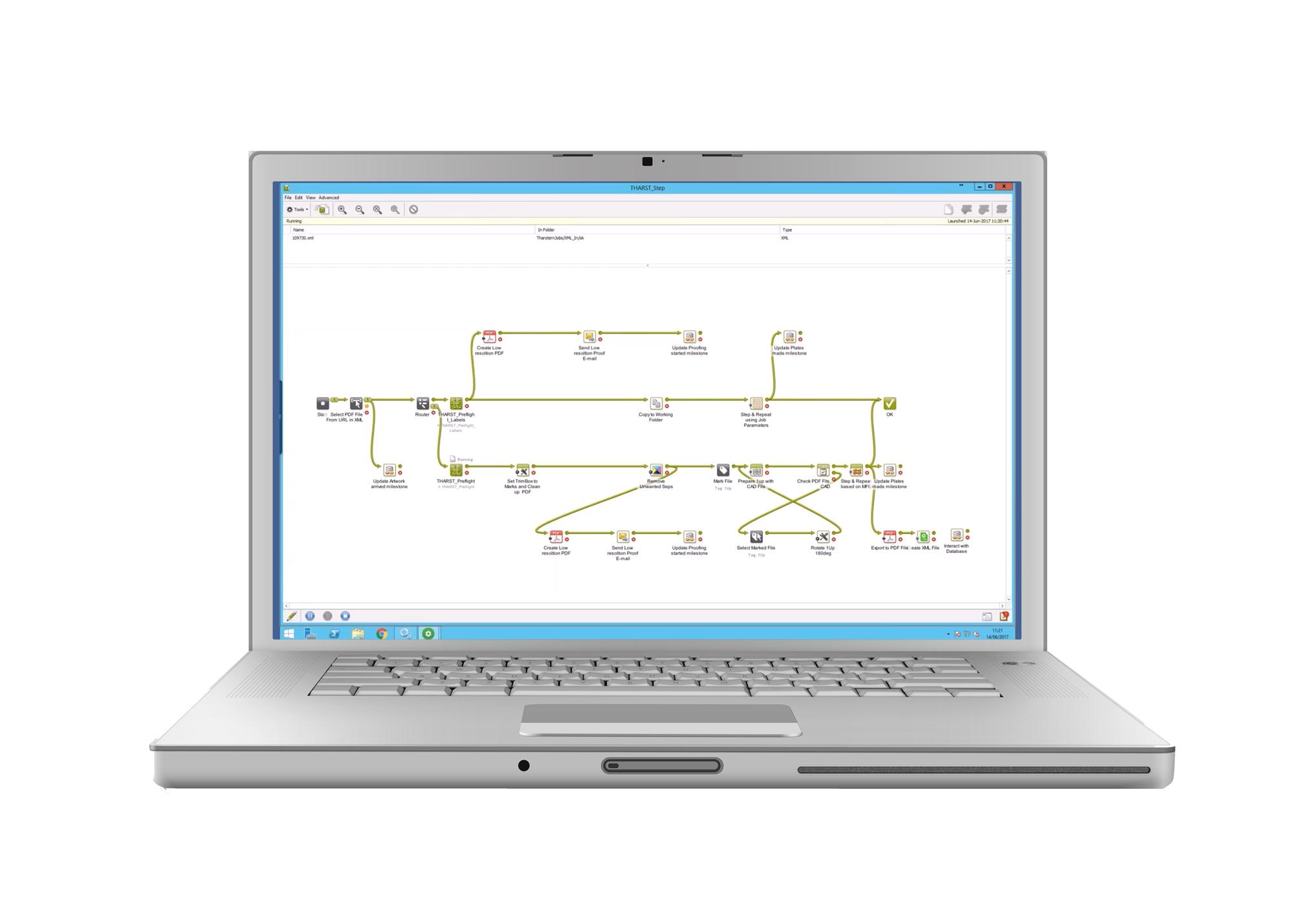 MIS integration Esko Automation Engine screenshot on laptop