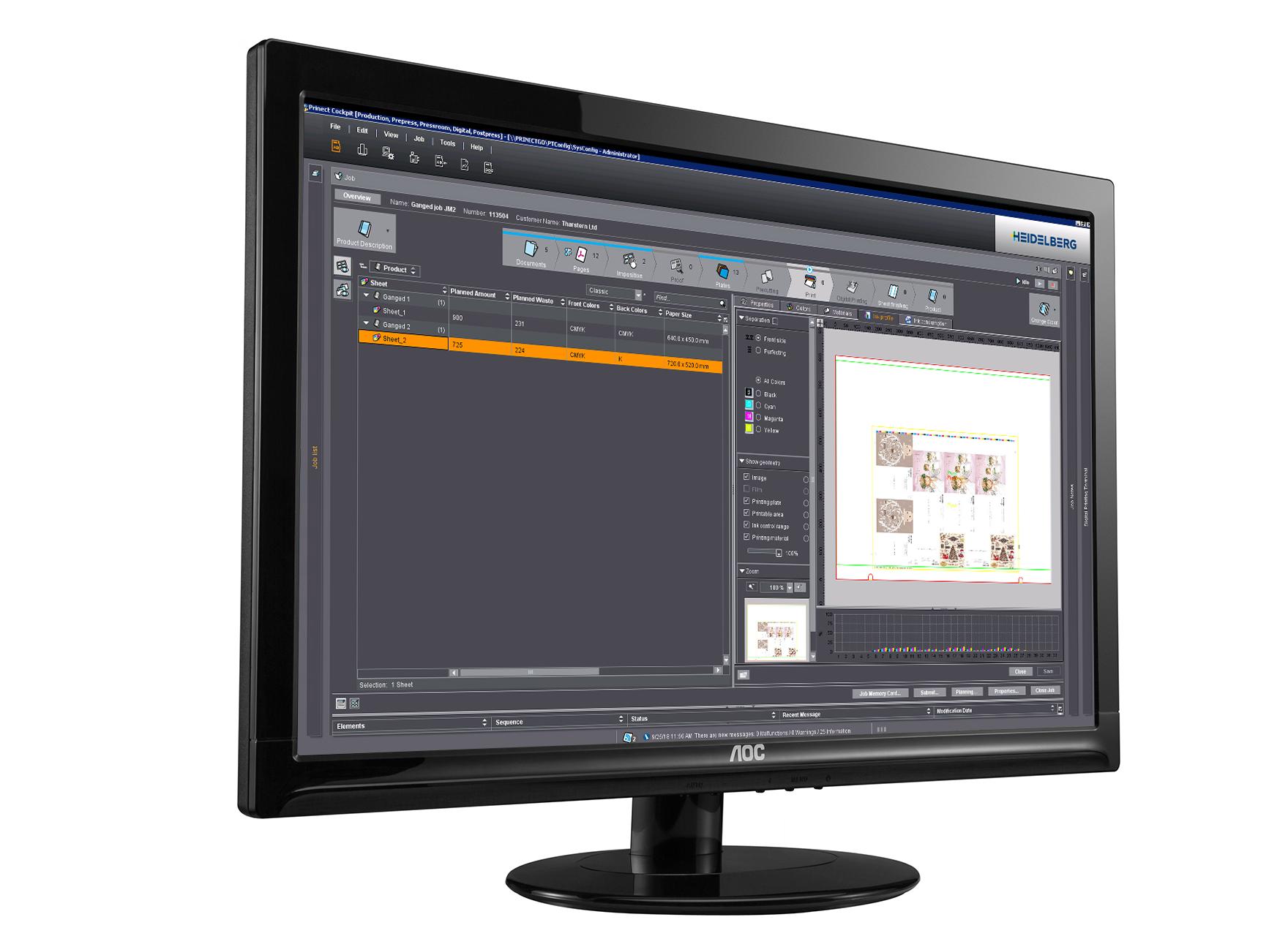 Tharstern Heidelberg Pressroom Manager Integration screenshot on computer screen