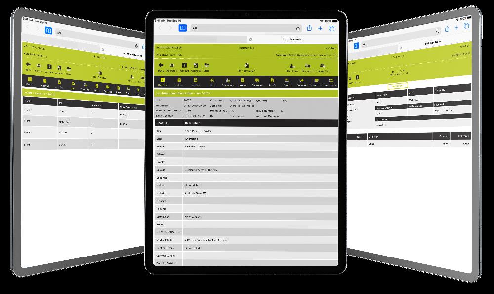 Shop Floor Data Capture screenshots on tablets