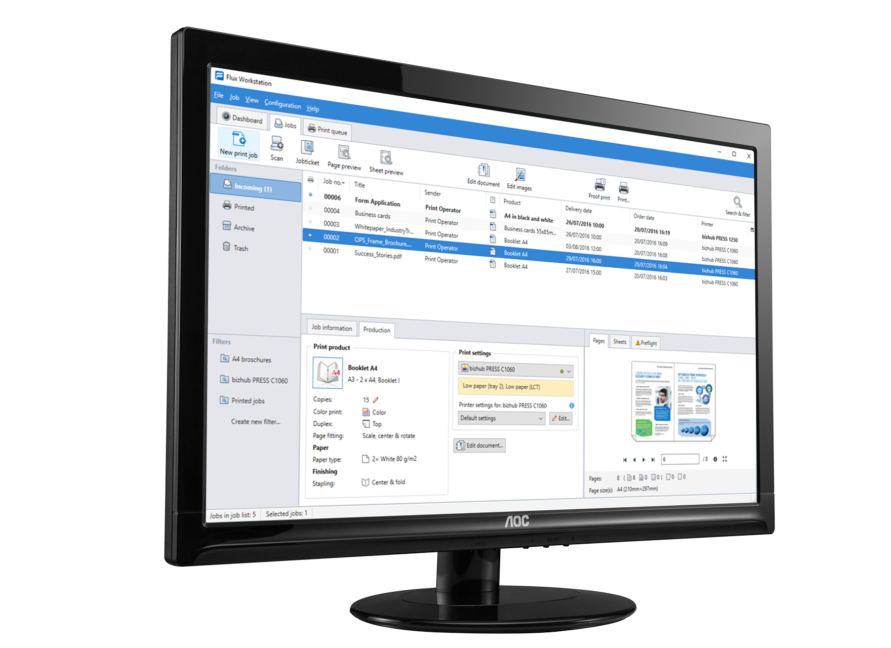 MIS integration Konica Minolta screenshot on computer screen