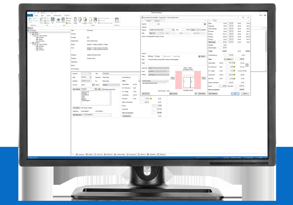 Computer showing Tharstern MIS V7 Job Ganging