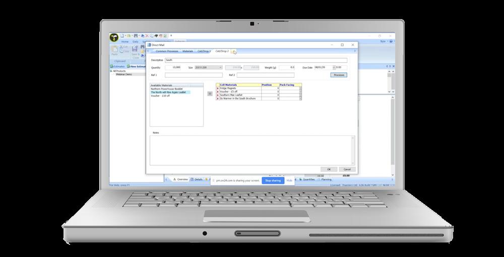 Direct Mail Tool screenshot on laptop